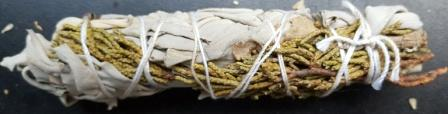 cedar and sage smudge stick with instuction on how to smudge