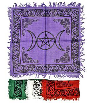 triple moon pantrgam altar cloth - pentagram tarot cloth