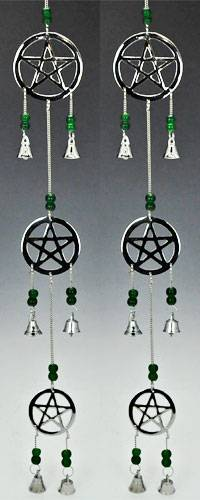 chrome pentagram bell - pagan decor