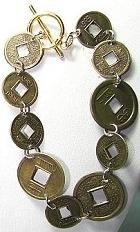 chinese coin bracelet for good luck and feng shui