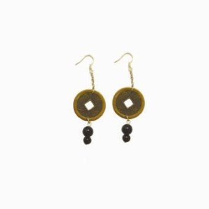chinese coin earrings for good luck and feng shui