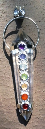 chakra crystal pendants with metaphysical properties - quartz for psychic awareness, clarity,energy and manifesting