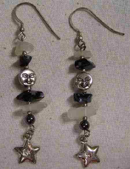 snowflake obsidian earrings for protection and wisdom