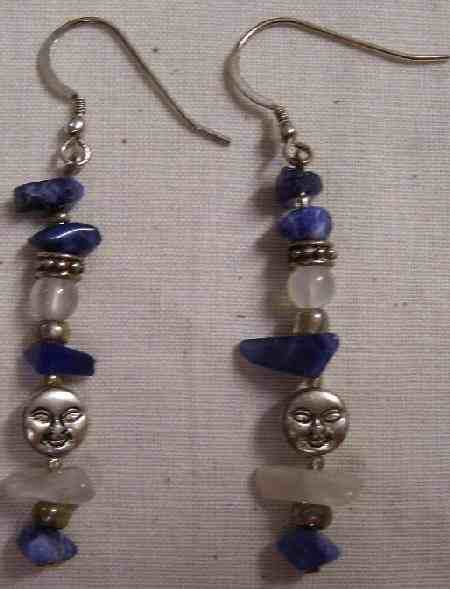sodalite and moonstone earrings for tranquility and meditation