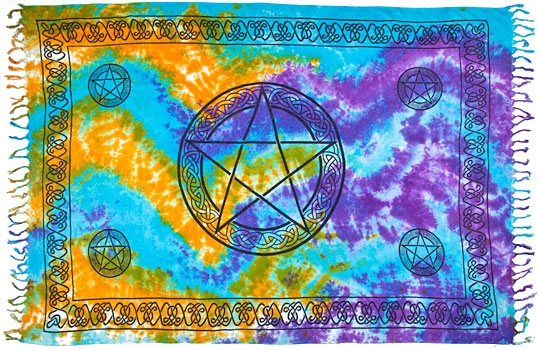 celtic knot pentagram altar cloth - pentagram tarot cloth