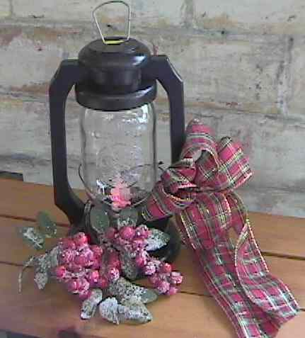 rustic primitive wooden jar lantern black