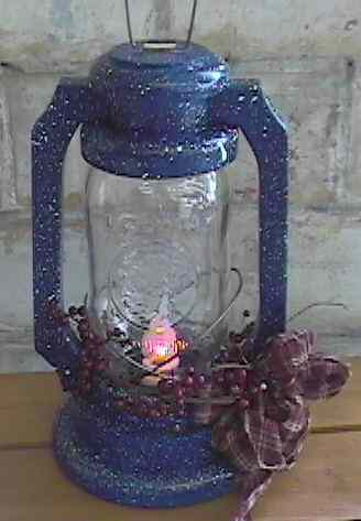 rustic primitive wooden jar lantern blue splatterware