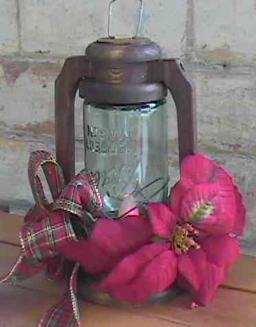 rustic primitive wooden jar lantern walnut