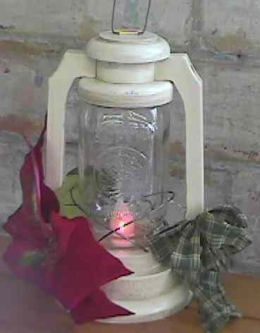 rustic primitive wooden jar lantern antique white
