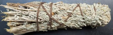 pinon and sage smudge stick with instuction on how to smudge