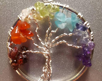 tree of life chakra crystal pendant
